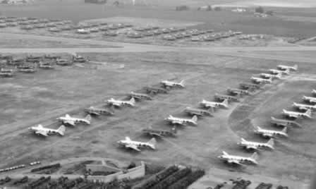 Aerial view of surplus C-46 Commandos in storage at Cal-Aero Field after WWII