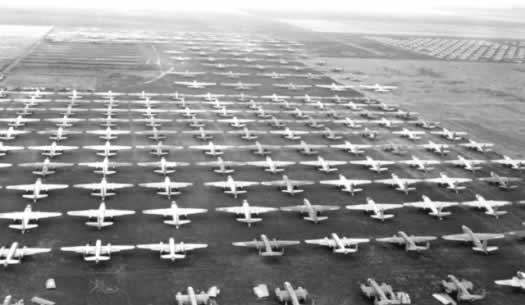 Aerial view of surplus military planes in storage at Cal-Aero Field in California after WWII (Photo courtesy of William T. Larkins)