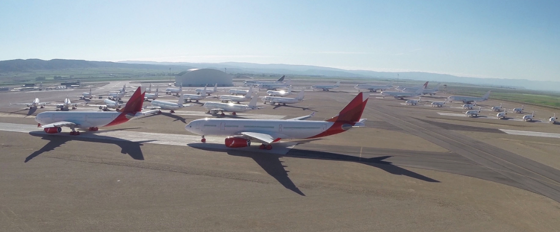 Airliners in storage at the Tarmac Aerosave facility at the Teruel Airport in Spain