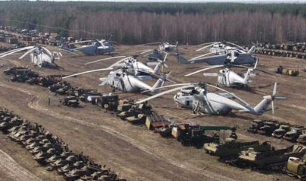 Helicopters and other equipment used during the Chernobyl disaster