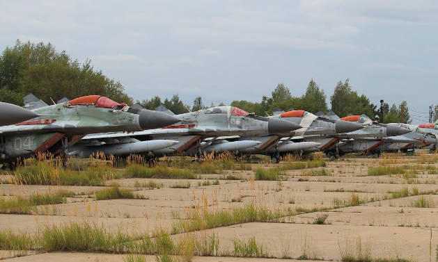 Jet fighters in storage near Lukhovitsy, Russia